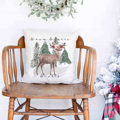 Warm Winter Wishes Rustic Deer White Canvas Christmas Pillow Cover