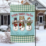 Warm Winter Wishes Snowman personalized Holiday Garden Flag