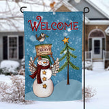 Welcome Winter Snowman personalized holiday Garden Flag