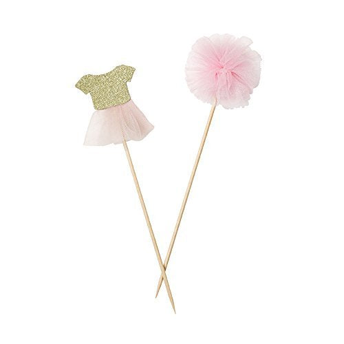 Talking Tables We Heart Pink Pom Pom & Tutu Cake Toppers for any Childrens Party, Pink/Gold