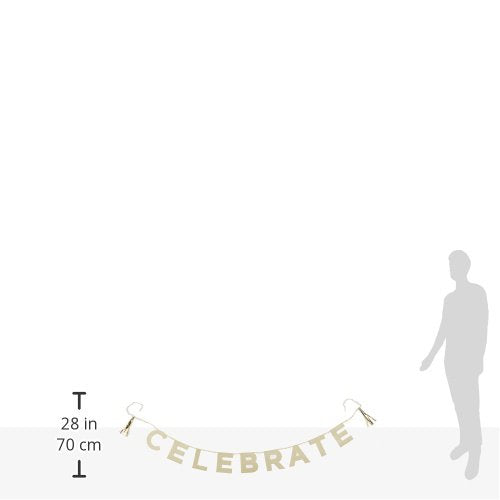 "Talking Tables Glitter Banner ""Celebrate"" Party Décor for a Birthday Party or Celebration, Gold (8 Ft.)"