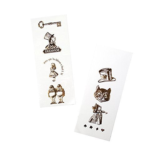 Talking Tables Truly Alice Mad Hatter Party Alice in Wonderland Gold Temporary Tattoos for a Birthday or Mad Hatter's Party, Gold