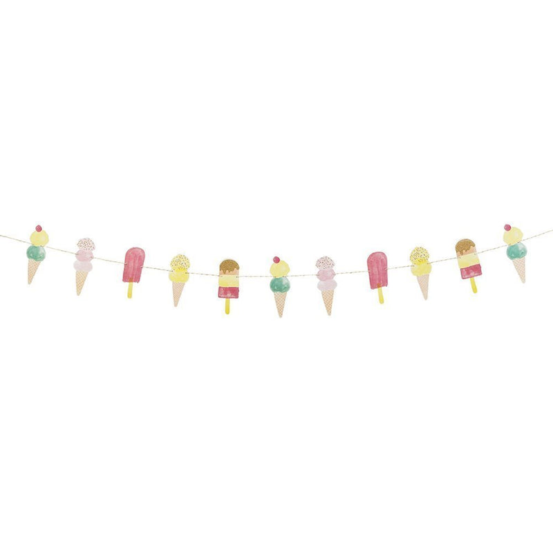 Talking Tables We Heart Ice Cream Hanging Décor Garland for a Summer Party or Children's Birthday (3m), Multicolor
