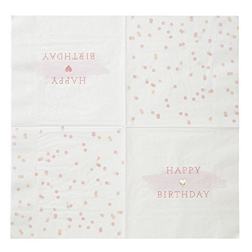 Talking Tables Pink Party Gold Foil Happy Birthday Paper Napkins (13 inch) for a 1st Birthday, Pink & White