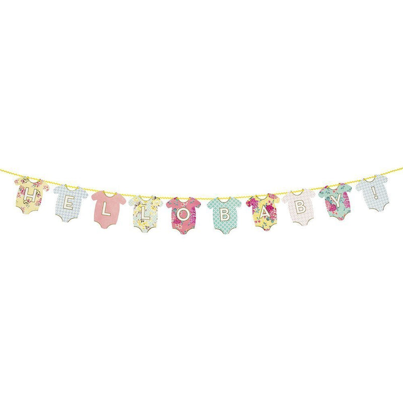 Talking Tables Truly Baby Hanging Bunting Banner in Shape of Baby Clothes for a Baby Shower, Multicolor