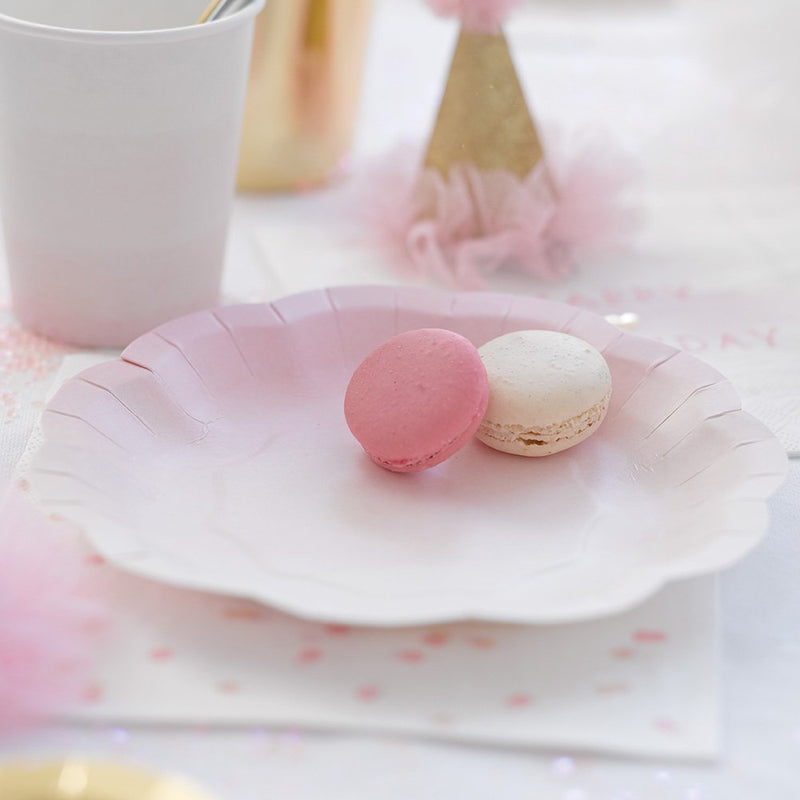 Talking Tables We Heart Pink Party Plates (2 Designs) for a Birthday or Tea Party, Pink & Gold