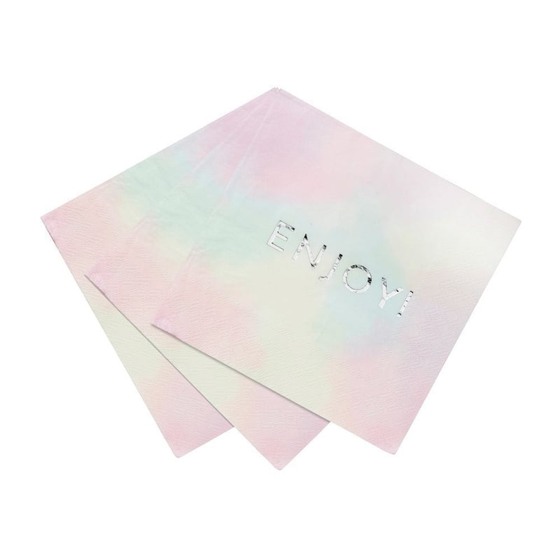 Talking Tables We Heart Pastel Pink Napkins with Silver Foil Detail 'Enjoy!' for a Birthday Party or Celebration, Pink/Silver