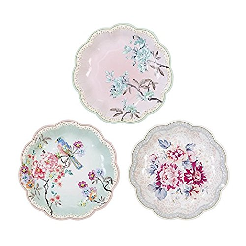 "Talking Tables Truly Romantic 7"" Small Floral Paper Plates in 3 Designs for a Birthday or Tea Party"