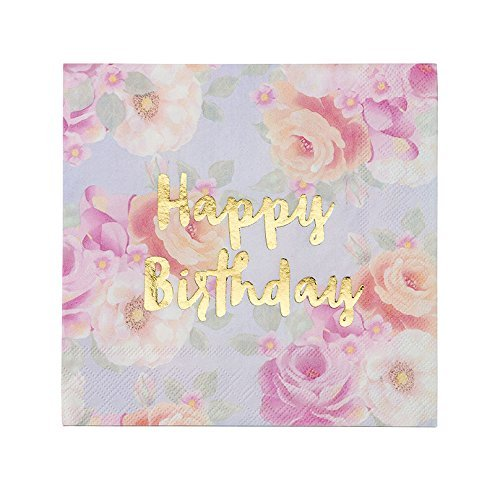 "Talking Tables Truly Scrumptious 13"" Gold Foil Happy Birthday Floral Paper Napkins for a Birthday Party, Multicolor/Gold"