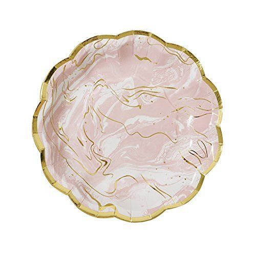 "Talking Tables Party Porcelain Marble 7"" Gold Foil Paper Plates for a Tea Party or Birthday, Pink/Gold"
