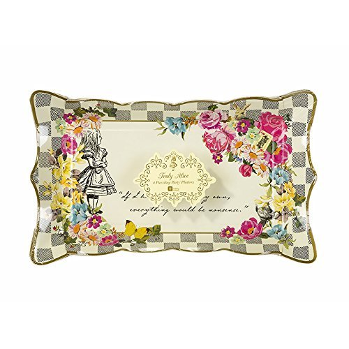 "Talking Tables Truly Alice Food Serving Platter 12"" x 7.5"" for a Tea Party or Birthday, Multicolor"