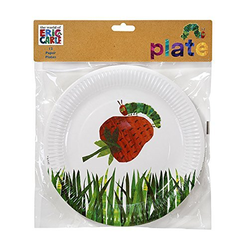 "Talking Tables The Very Hungry Caterpillar Kids Birthday Paper Plate, 11"", Green"
