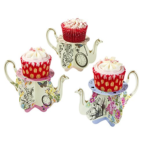 Talking Tables Truly Alice Teapot Cupcake Stands for a Tea Party, Multicolor