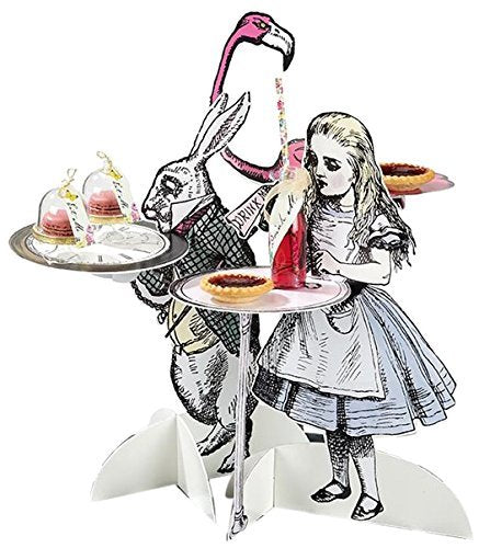 "Talking Tables Truly Alice Mad Hatter Party Alice in Wonderland 16"" Character Treat Stands for a Birthday or Tea Party, Multicolor"