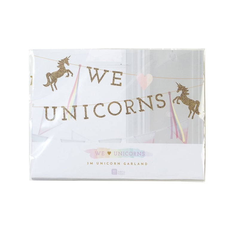 Talking Tables We Heart Unicorns Paper Banner Décor with Glitter Detail, Pennants for a Children's Party or Birthday Party