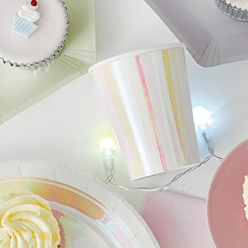 Talking Tables We Heart Pastel Iridescent Shiny Paper Cups for a Birthday Party, Unicorn Party, or Children's Party , Pink