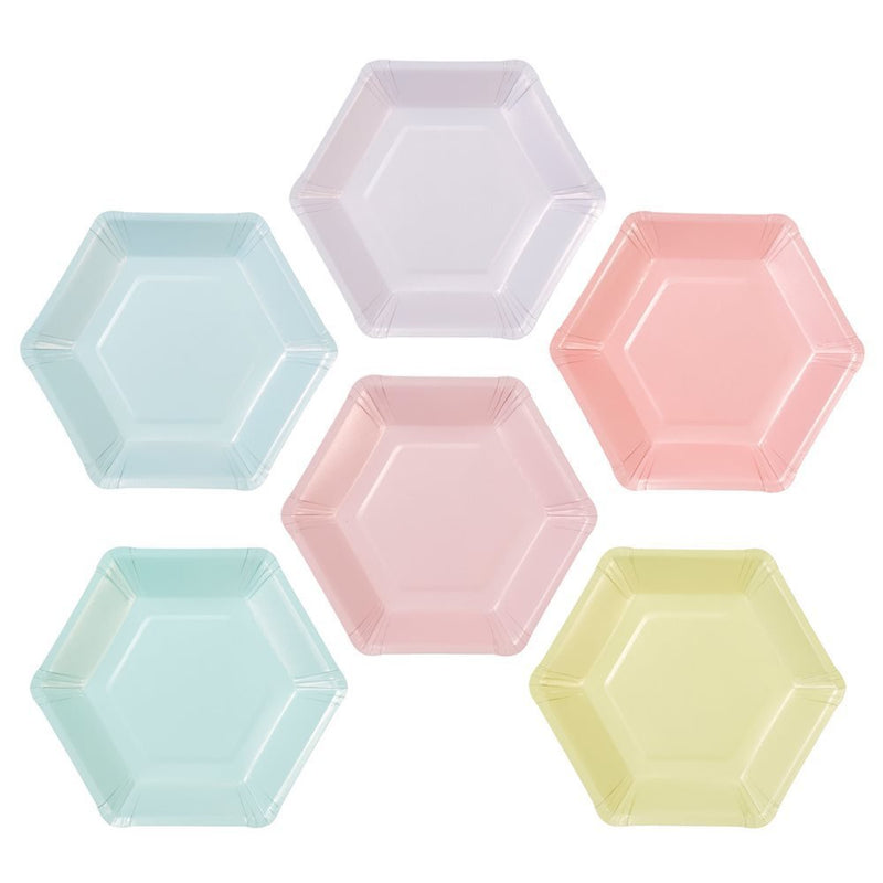 Talking Tables We Heart Pastel Small Multi Pastel Color Hexagonal Matte Paper Plates (6 Designs) for a Birthday Party or Celebration, Multicolor