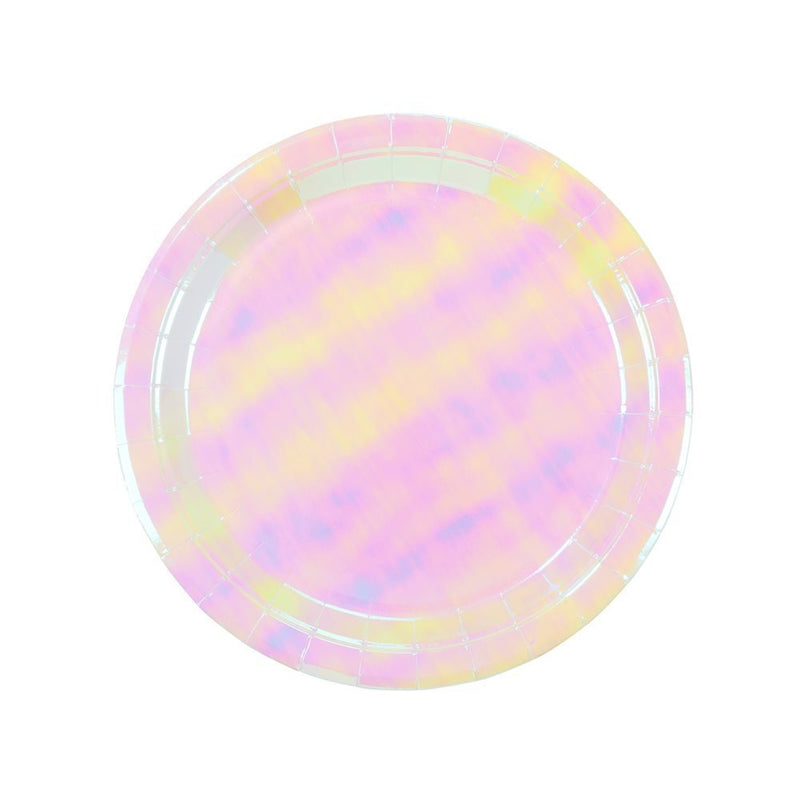 "Talking Tables We Heart Pastel 9"" Iridescent Shiny Paper Plates for a Birthday Party, Unicorn Party, or Children's Party , Pink"
