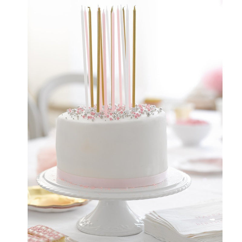 Talking Tables Pink Party Long Thin Cake Candles for a Birthday Party, Multicolor
