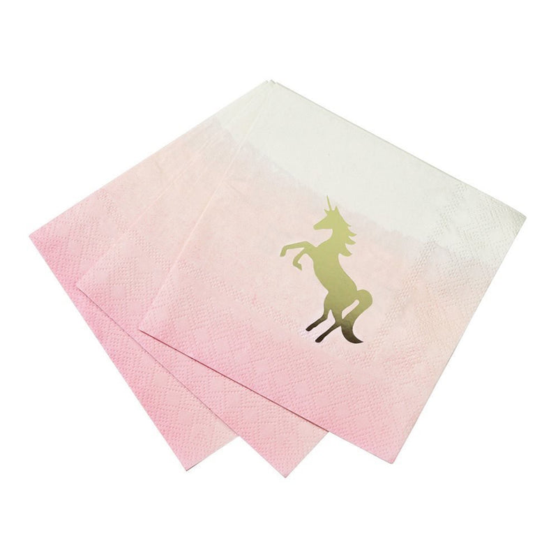 "Talking Tables We Heart Unicorns 10"" Pink Ombre Cocktail Napkins with Foil Detail for a Children's Party or Birthday Party, Pink/Gold"