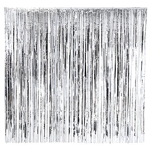 Talking Tables Glitterati Foil Fringed Decorative Party Curtain, 6.5 x 6.5 Ft. , Silver