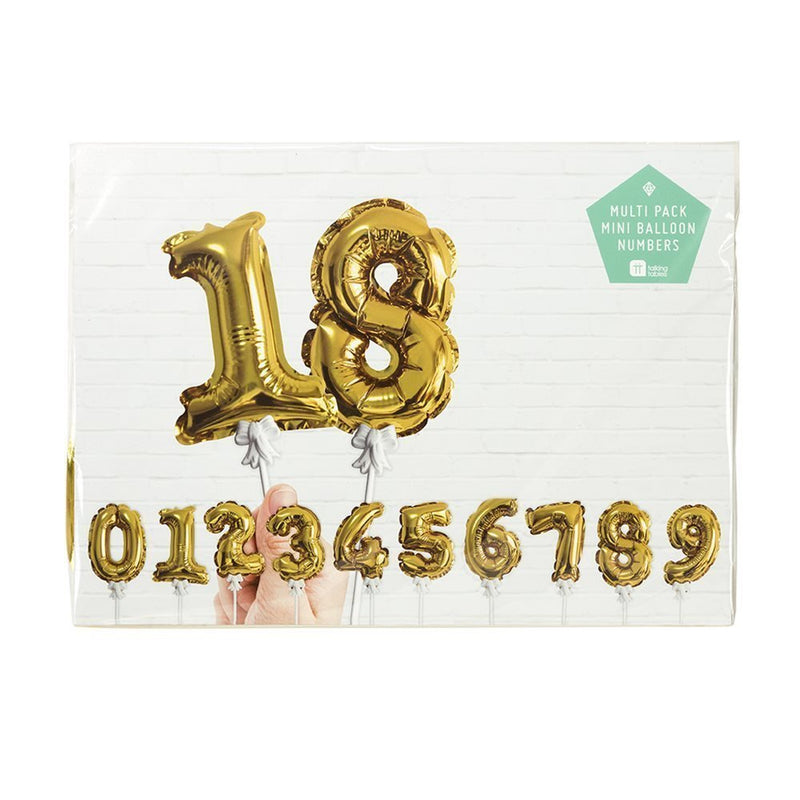 Talking Tables Party Time Gold Foil Number Balloon Cake Toppers for a Birthday or Anniversary, Gold