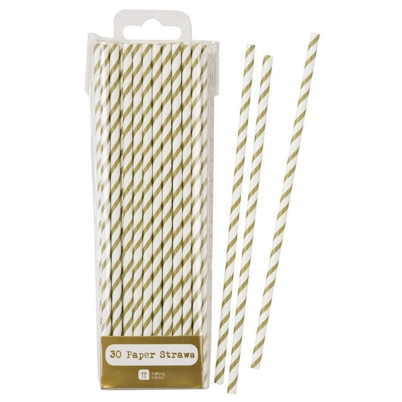 Talking Tables Gold Party Stripy Metallic Drinking Straws for a Birthday or any Celebration, Gold