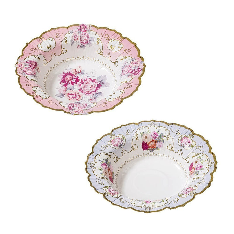 Talking Tables Truly Scrumptious Vintage Floral Paper Bowls in 2 Designs for a Tea Party or Birthday, Blue/Pink