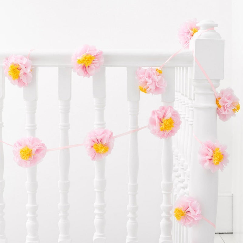 Talking Tables Decadent Decor 10Ft Paper Pom Pom Garland Décor With Decorative Flowers For A Summer Party Or Your Home Décor, Pink/Yellow