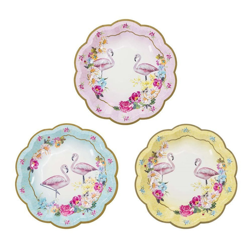 "Talking Tables Truly Flamingo 7"" Floral Flamingo Paper Plates in 3 Designs for a Birthday or Flamingo Party, Blue/Pink/Yellow"