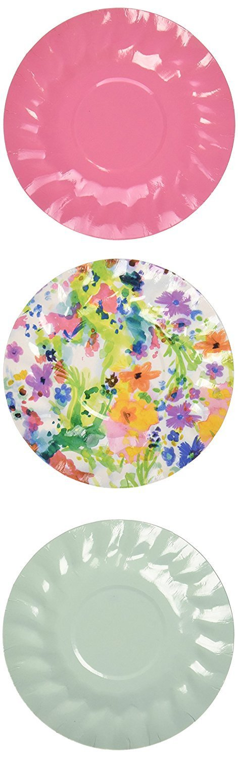 Talking Tables Tropical Party Mini Canape Plates, 12 count, for a BBQ, Luau, or Summer Party