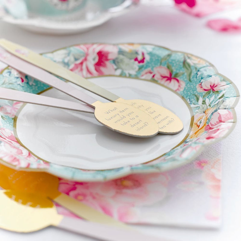 Talking Tables Truly Scrumptious Card Conversation Starter Teaspoon Stirrers with Gold Foil Detail in 3 Designs for a Tea Party, Dinner Party or Wedding, Pink/Yellow/Blue