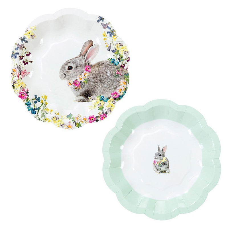 Talking Tables Truly Bunny Floral Rabbit Small Plates, 12 count, in 2 Designs for an Easter Celebration or Children's Party
