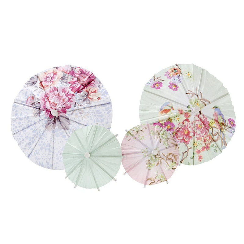 Talking Tables Truly Romantic Floral Drinks Parasols 2 Sizes in 4 Designs for a Birthday or Tea Party