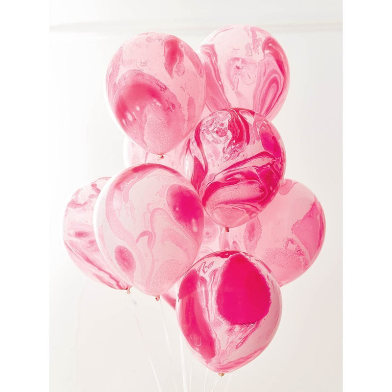 Talking Tables We Heart Pink Marble Effect Party Balloons for a Birthday Party or Children's Party, Pink/Pearl