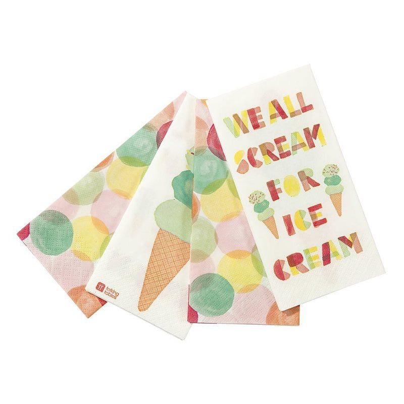 Talking Tables We Heart Ice Cream Paper Napkins with Ice-cream design for a Birthday or Summer Party, Multicolor