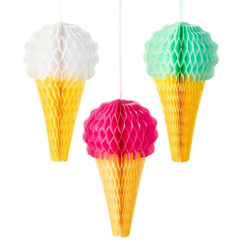 Talking Tables We Heart Ice Cream Hanging Honeycomb Ice Cream Decorations for a General party decoration or birthday party, Multicolor