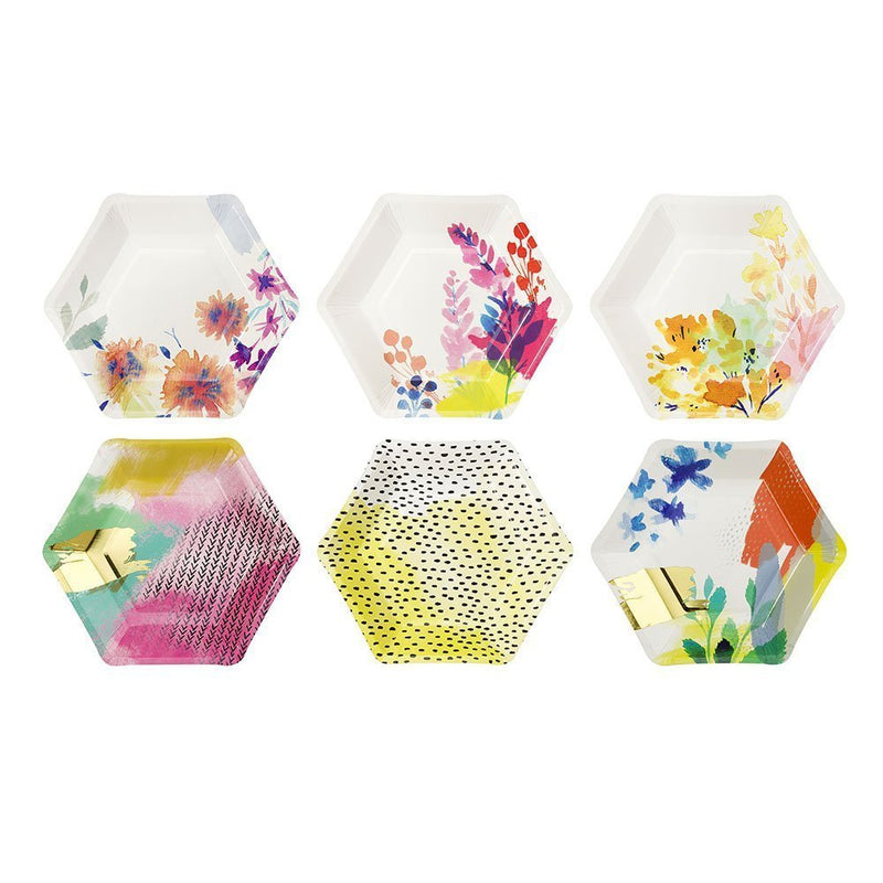 Talking Tables Fluorescent Floral Hexagonal Floral Vibrant Paper Plates for a Birthday, Multicolor
