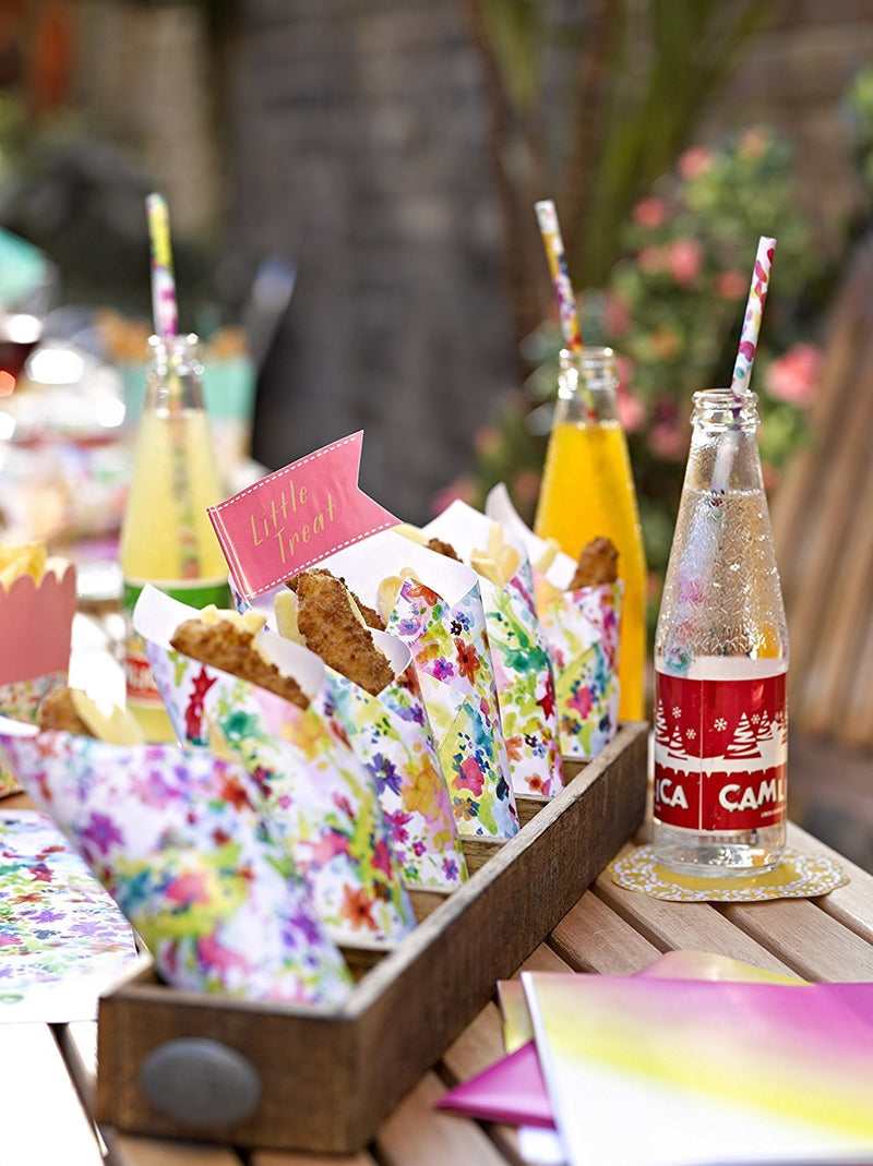 Talking Tables Floral Fiesta Floral Canape Sticks for a BBQ, Luau, or Summer Party, Multicolor