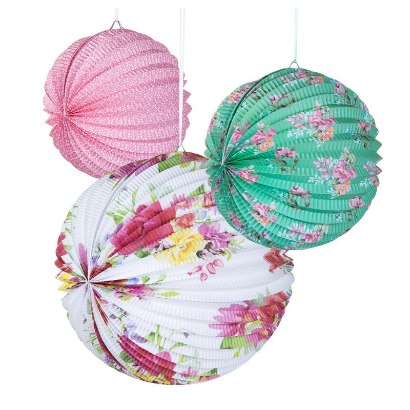 Talking Tables Truly Scrumptious Floral Paper Lanterns for Party Decoration, Multicolor