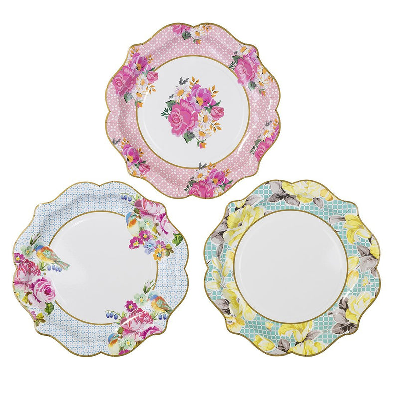 Talking Tables Truly Scrumptious Floral Plates for a Tea Party, Wedding, Multicolor