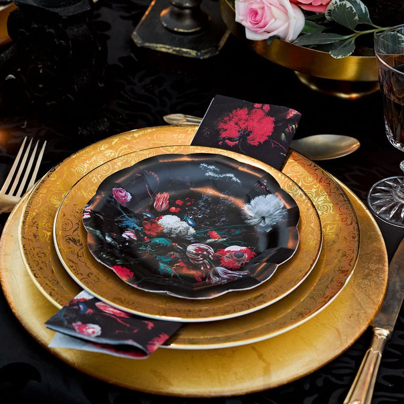 Talking Tables Halloween & Gothic Porcelain Baroque Party Bundle | Designer Plates, Napkins, and Cups for Masquerade Celebrations and Stylish Parties