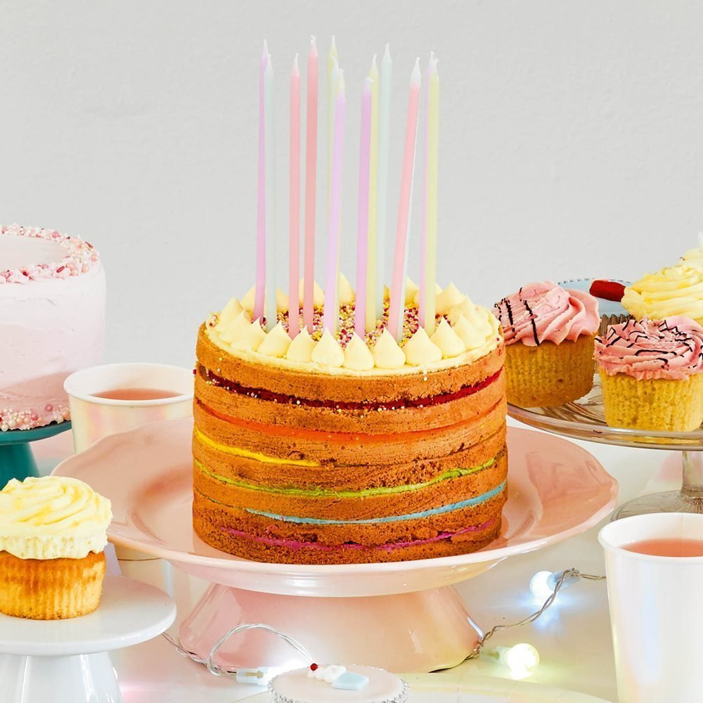 Talking Tables We Heart Pastel Long Thin Birthday Candles In 4 Colors For A Party Or Childrens Multicolor