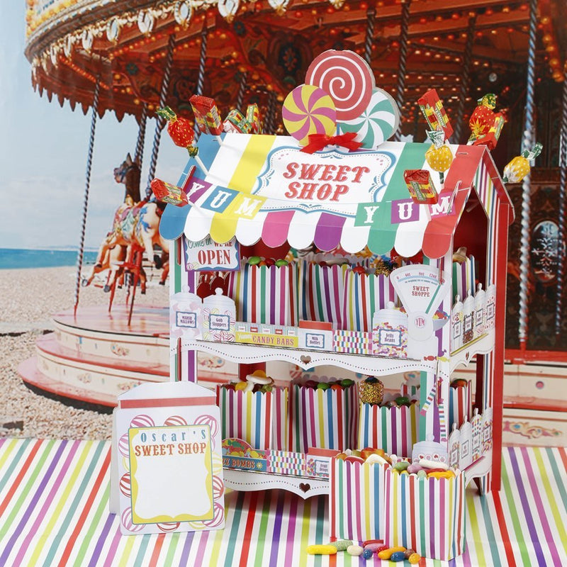 Talking Tables Candy Shop Party Bundle | Retro Candy Shop Stand with Various Decorative Paper Treat Bags for Birthdays, Weddings, and Parties