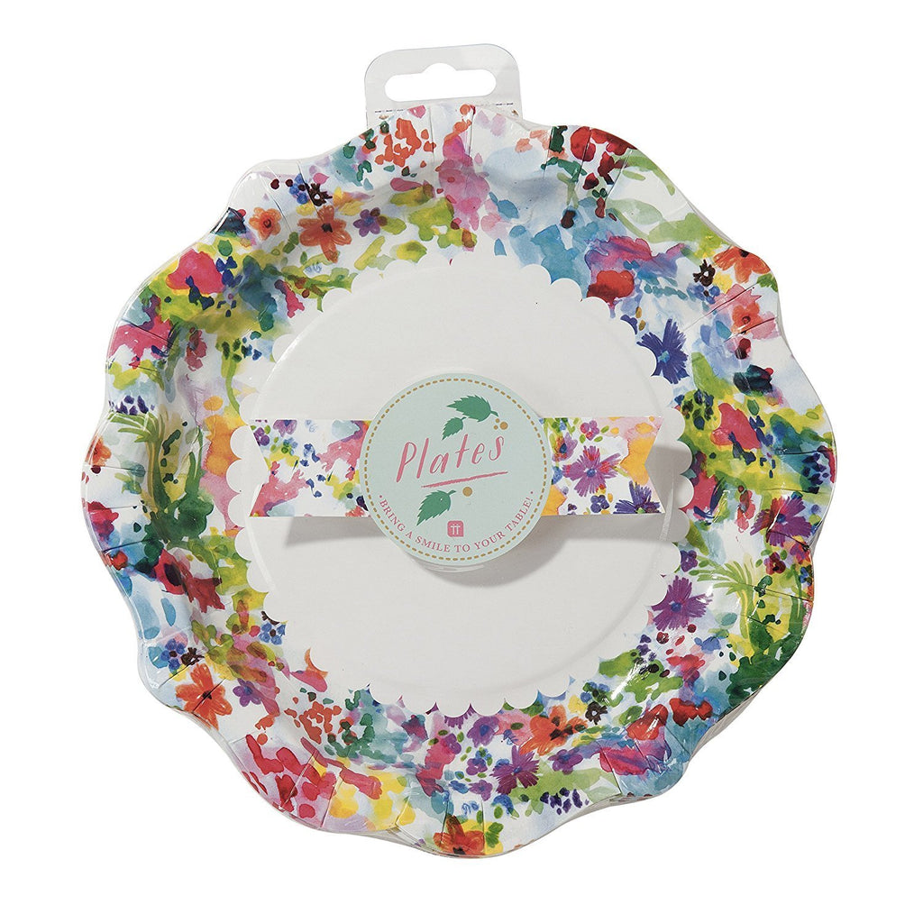 Talking Tables Floral Fiesta Large Colorful Paper Plates for a Tea Party, Birthday or Luau Party, Multicolor