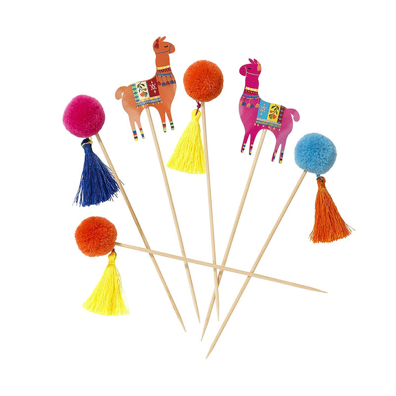 Talking Tables Boho, Llama Pom Picks, 12 pack, Multi-Colour (H18cm)