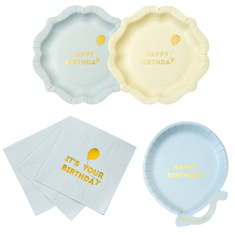 Talking Tables We Heart Birthdays Happy Birthday Boy Party Bundle | Balloon Shaped Paper Plates, Napkins & Happy Birthday Plates