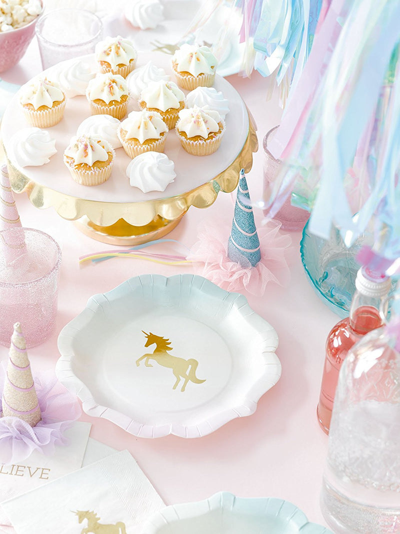 Talking Tables We Heart Unicorns Small Ombre Plates with Gold Foil Detail for a Children's Party or Birthday Part