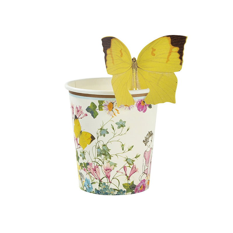 Talking Tables Truly Fairy Floral Paper Cups for a Birthday Party or General Celebration, Pink & White
