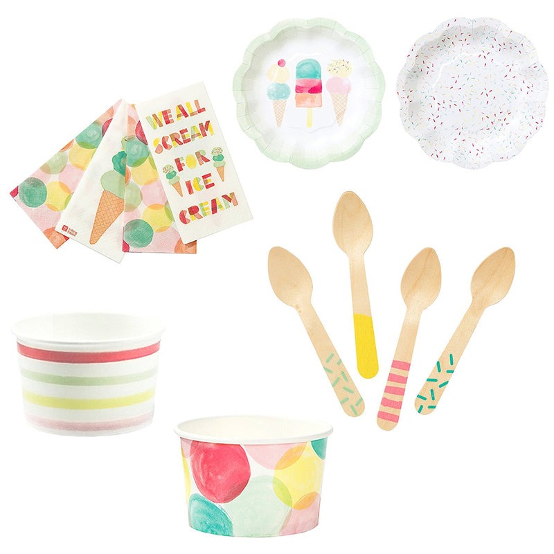 Talking Tables We Heart Ice Cream Party Bundle For Birthdays, Summer Parties or Children Celebrations | Paper Plates, Napkins, Ice Cream Treat Tubs & Wooden Spoons